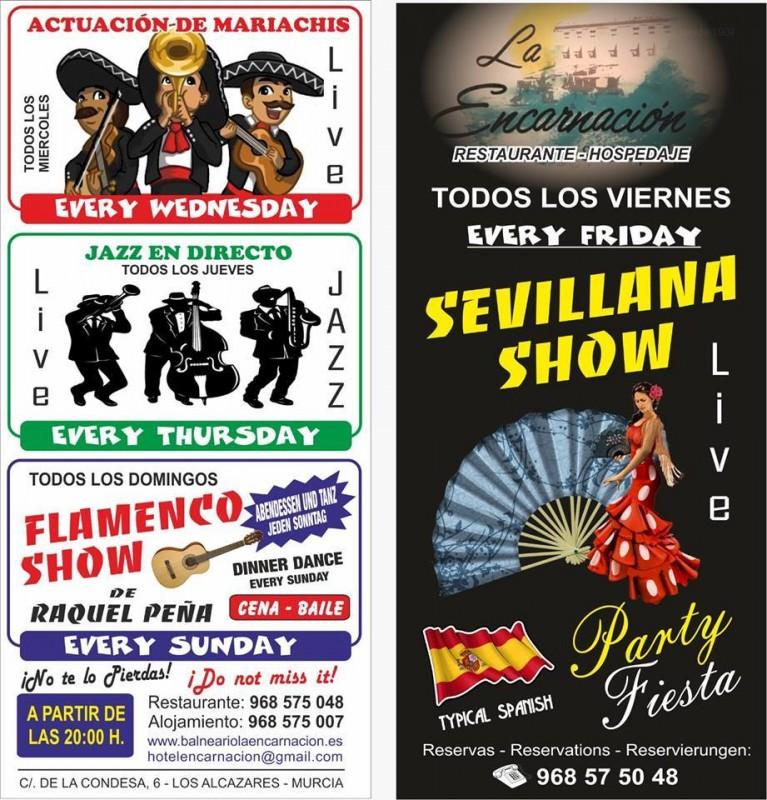 Every Friday; Sevillanas at the La Encarnación hotel and restaurant in Los Alcázares
