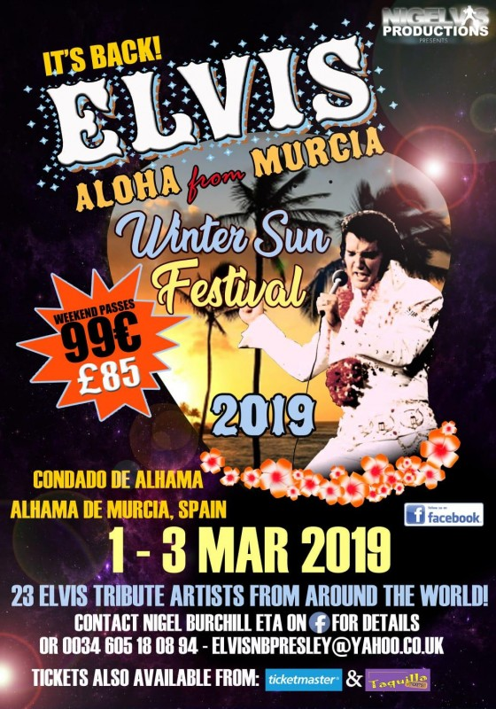 <span style='color:#780948'>ARCHIVED</span> - 26th February to 3rd March 2019 Elvis Winter Sun Festival Alhama de Murcia