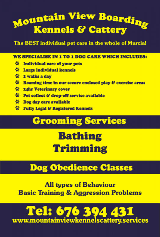 Mountain View Kennels, Dog kennels and cattery, dog training, dog grooming and private pet villa rental  in Fuente Alamo