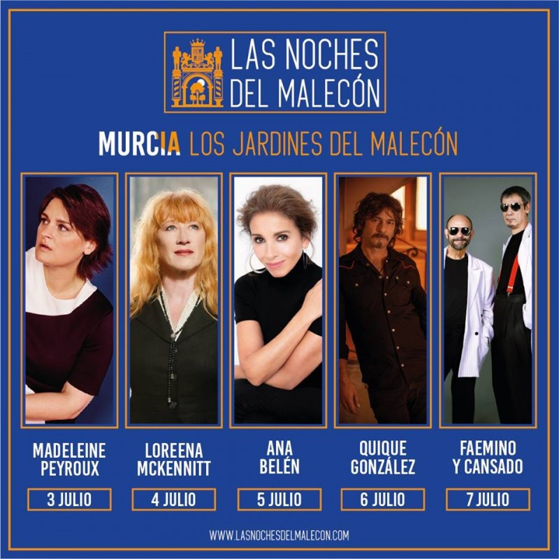 3rd to 7th July, open-air concerts and comedy in the Malecón gardens in Murcia