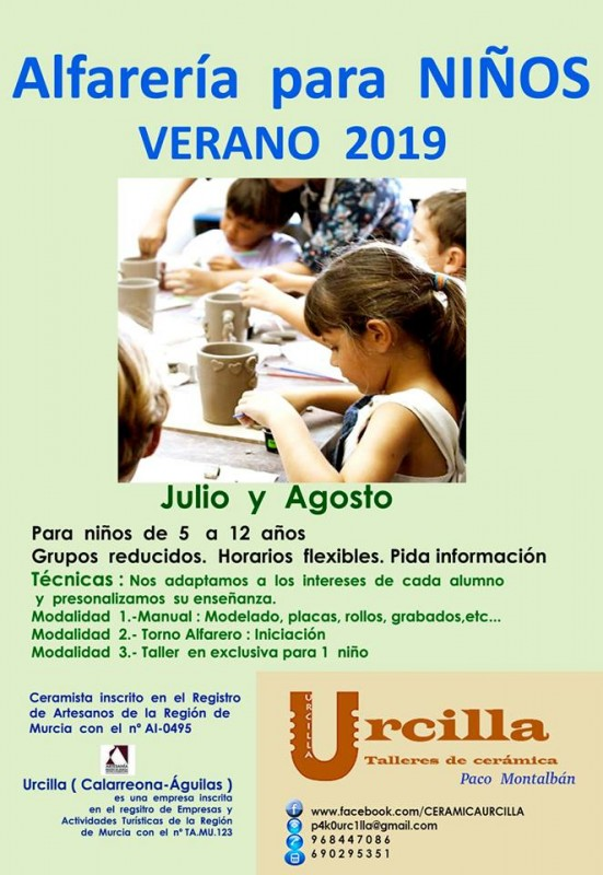 Águilas; Ceramic courses for children in July and August