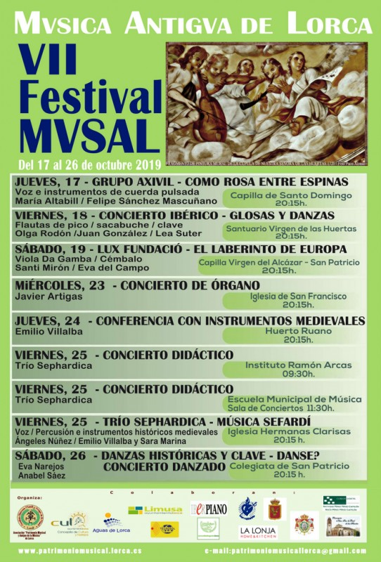 <span style='color:#780948'>ARCHIVED</span> - 17th to 26th October Free early Music concerts in Lorca; VII Festival MVSAL