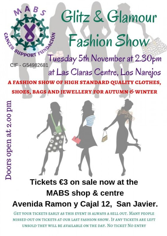 <span style='color:#780948'>ARCHIVED</span> - Tuesday 5th November Los Alcázares; MABS Glitz and Glamour Fashion Show