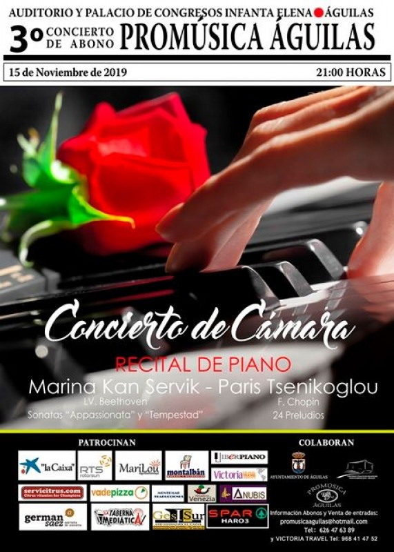 <span style='color:#780948'>ARCHIVED</span> - Friday 15th November Beethoven sonatas at the Infanta Elena Auditorium in Águilas