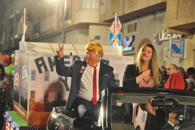 Donald Trump amongst the bling at Águilas Carnival 2020