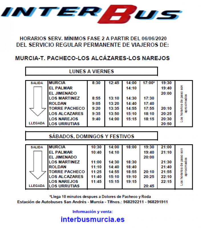 <span style='color:#780948'>ARCHIVED</span> - Interbus from 6th June:  Los Narejos -Torre Pacheco-Los Alcázares- Murcia