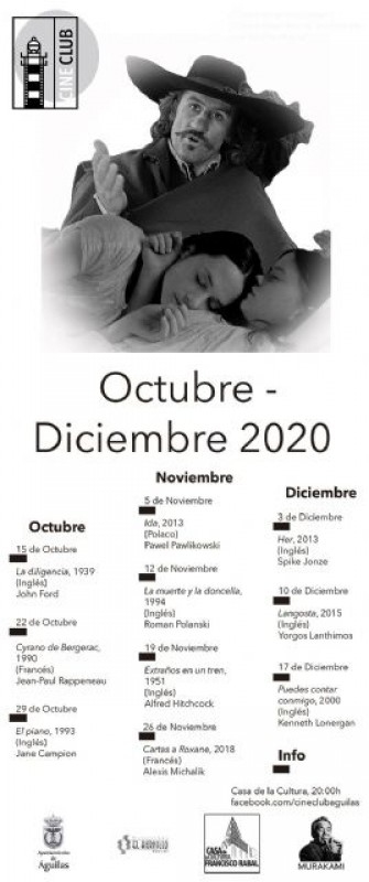 <span style='color:#780948'>ARCHIVED</span> - Águilas cinema club Autumn programme: 15th October to December 17th