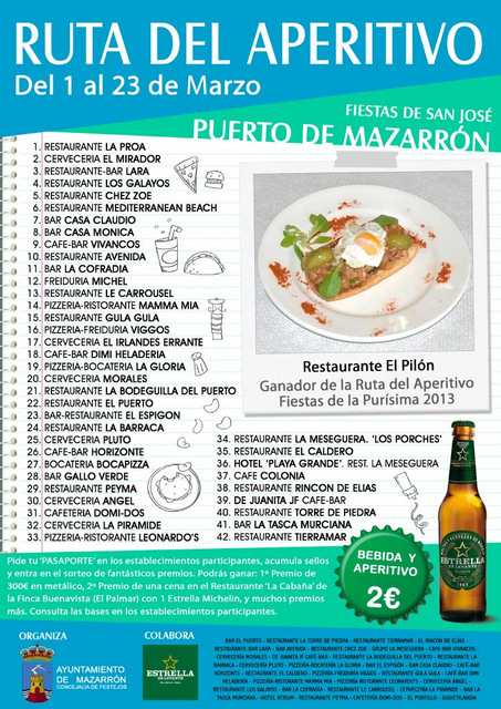 <span style='color:#780948'>ARCHIVED</span> - 1st to 23rd March, Ruta del Aperitivo, Mazarron