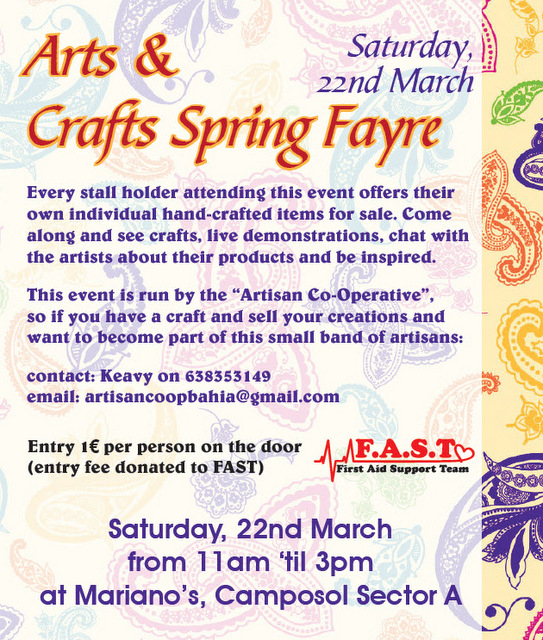 <span style='color:#780948'>ARCHIVED</span> - 22nd March, Artisan Co-operative Arts and Crafts Fayre, Camposol